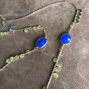 Banana Republic gold coin and blue stone necklace